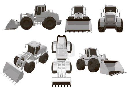 Illustration pour Ensemble avec un bulldozer 6 bulldozers polygonaux à différents angles. Vue imprenable, en haut, sur le côté, devant, derrière. Chargeur sur pneus blanc bulldozer équipement lourd et illustration vectorielle de machines de construction. 3D - image libre de droit