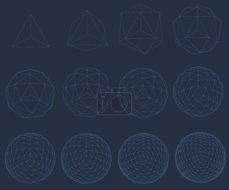 Illustration pour Ensemble avec wireframe de figures géométriques, une séquence de complications de la figure d'une sphère formes géométriques des lignes bleues. Formes polygonales pour vos projets. Illustration vectorielle 3D - image libre de droit