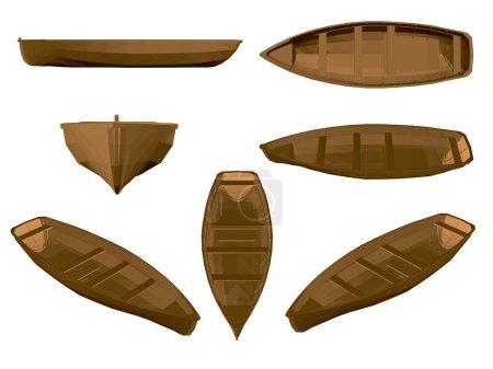 Illustration pour Ensemble avec bateau en bois. Bateau en bois brun dans différentes positions. 3D. Côté, devant, isométrique, vue du dessus. Illustration vectorielle avec bateaux. - image libre de droit