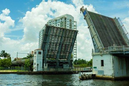 Photo for Vintage Miami River drawbridge near downtown Miami. - Royalty Free Image