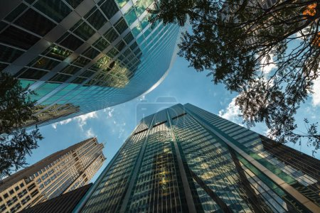 Photo for Upward view of modern skyscrapers in downtown Chicago. - Royalty Free Image