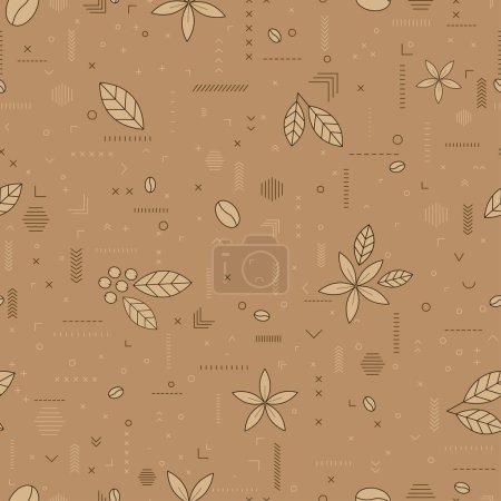 Illustration pour Motif de café avec grains de café, fleurs, baies. Illustration vectorielle sans couture sur un fond brun clair. Pour papier d'emballage, papier peint, tissus, milieux. - image libre de droit