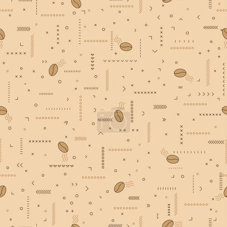 Illustration pour Motif de café avec grains de café et ornements.Illustration vectorielle sans couture sur un fond beige. Pour papier d'emballage, papier peint, tissus, milieux. - image libre de droit