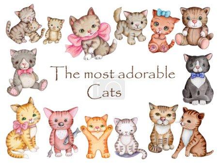 Photo pour Ensemble de chats et chatons de dessin animé mignons. Illustrations aquarelles dessinées à la main pour enfants, isolées sur fond blanc. - image libre de droit