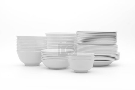 Photo for Set clean dishes glasses on white background - Royalty Free Image