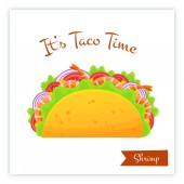 Mexican cuisine shrimp tacos food vector banner