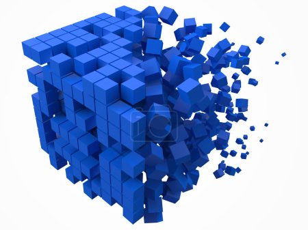Illustration for Big cubic data block. made with smaller blue cubes. 3d pixel style vector illustration. suitable for blockchain, technology, computer and abstract themes. - Royalty Free Image