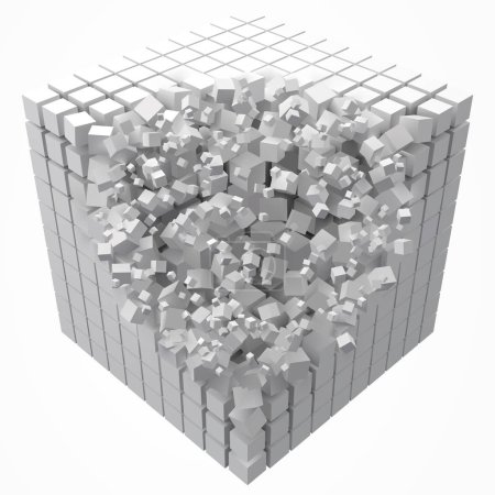 Illustration for Dissolving data block. made with smaller white cubes. 3d pixel style vector illustration. suitable for blockchain, technology, computer and abstract themes. - Royalty Free Image