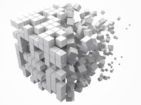 Illustration for Big cubic data block. made with smaller white cubes. 3d pixel style vector illustration. suitable for blockchain, technology, computer and abstract themes. - Royalty Free Image