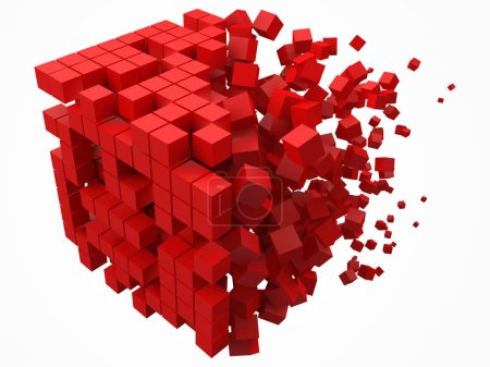 Illustration for Dissolving data block. made with smaller red cubes. 3d pixel style vector illustration. suitable for blockchain, technology, computer and abstract themes. - Royalty Free Image