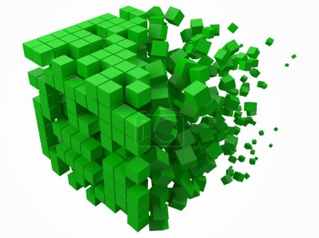 Illustration for Big cubic data block. made with smaller green cubes. 3d pixel style vector illustration. suitable for blockchain, technology, computer and abstract themes. - Royalty Free Image