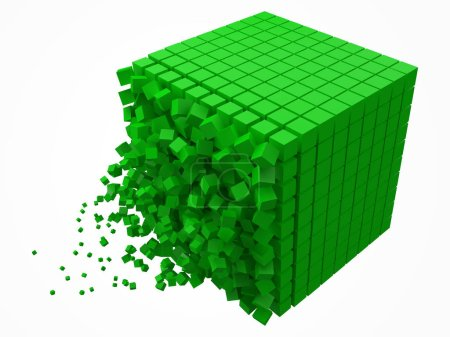 Illustration for Dissolving data block. made with smaller green cubes. 3d pixel style vector illustration. suitable for blockchain, technology, computer and abstract themes. - Royalty Free Image