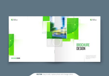 Illustration for Green Square Brochure Cover Template Layout Design. Corporate business annual report, catalog, magazine, flyer mockup. Creative green modern bright eco concept with square shape. - Royalty Free Image