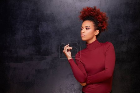 Photo for Studio fashion portrait of beautiful african american woman on dark background. Stylish autumn look . - Royalty Free Image
