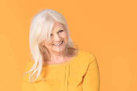 Photo for Portrait of mature woman with perfect skin. Closeup face of happy senior woman . - Royalty Free Image