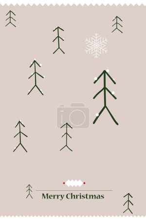 Photo for Merry Christmas card with beautiful snowflake and christmas tree. - Royalty Free Image