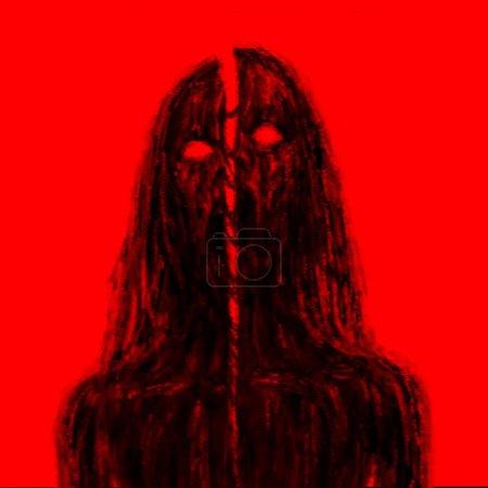 Photo pour Haché par vampire zombies épée. Illustration dans le genre horreur. Notion de caractère sanglante horreur. Couleur d'arrière-plan rouge. - image libre de droit