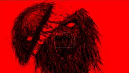 Photo pour Haché par monster zombies épée. Illustration dans le genre horreur. Notion de caractère horreur. Couleur d'arrière-plan rouge. - image libre de droit