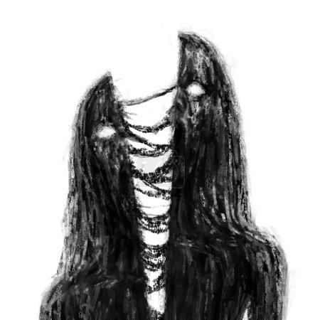 Photo pour Haché par jeune fille vampire de zombies épée. Illustration dans le genre horreur. Notion de caractère horreur. Couleur noir et blanc. - image libre de droit