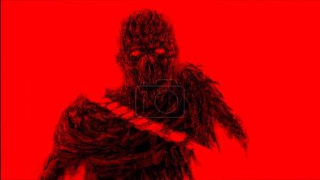 Photo pour Haché par l'épée zombies monstre. Illustration dans le genre horreur. Concept de personnage d'horreur. Couleur de fond rouge . - image libre de droit