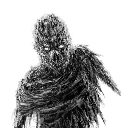 Photo pour Vampire zombie effrayant avec une main. Illustration dans le genre horreur. Concept de personnage d'horreur. Couleur noir et blanc . - image libre de droit