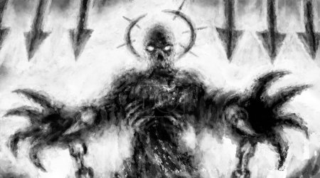 Photo pour Effrayante attaque de monstre. Illustration en noir et blanc dans le genre fantasy horreur avec effet charbon et bruit. - image libre de droit