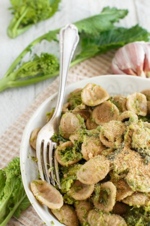 Photo for Traditional Apulia region pasta Orecchiette with turnip greens - Royalty Free Image