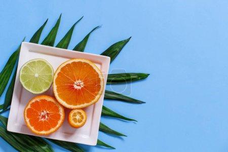 Zitrusfrüchte auf einem Teller auf blauem Hintergrund