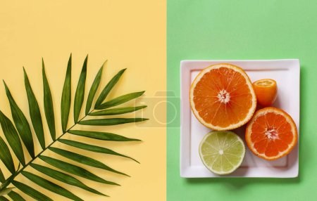 Photo for Citrus fruits on a yellow and green background top view - Royalty Free Image