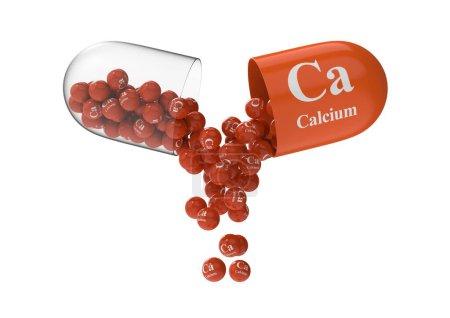 Photo pour Capsule ouverte avec calcium à partir de laquelle la composition vitaminique est versée. Illustration médicale de rendu 3D - image libre de droit