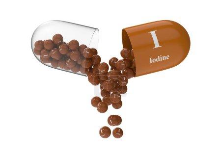 Photo pour Capsule ouverte avec de l'iode à partir de laquelle la composition vitaminique est versée. Illustration médicale de rendu 3D - image libre de droit