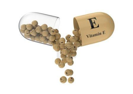 Photo pour Capsule ouverte avec vitamine E à partir de laquelle la composition vitaminique est versée. Illustration médicale de rendu 3D - image libre de droit