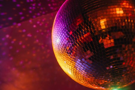 Photo for Disco ball with bright rays, night party background - Royalty Free Image