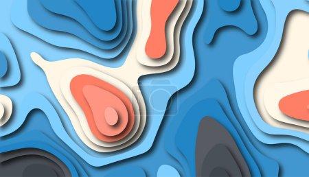 Photo pour Fond de découpe de papier. Réaliste en couches lisses des objets 3d. Concevoir pour l'image de marque, publicité avec des formes abstraites. Décor moderne pour couvertures, invitations, affiches, bannières, flyers, affiches. - image libre de droit