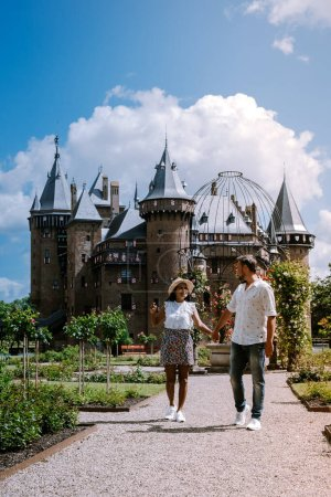 Photo for Utrecht Netherlands May 2020, medieval old castle de Haar Utrecht on a Spring day almos empty gardens during the corona virus covid 19 outbreak, most gardens and parks reopen in June. Hight quality - Royalty Free Image