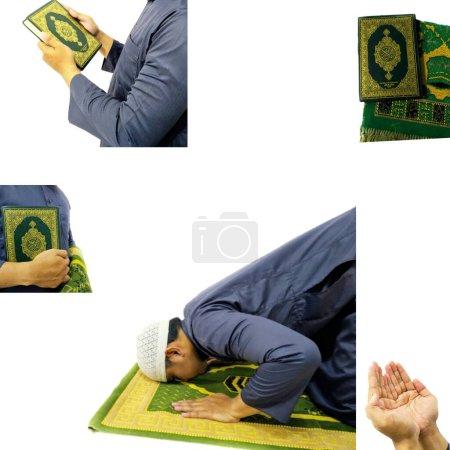 Photo pour Java central. Indonésie. 20 avril 2020. Photo de l'homme avec le Coran prêt pour le Ramadan. - image libre de droit