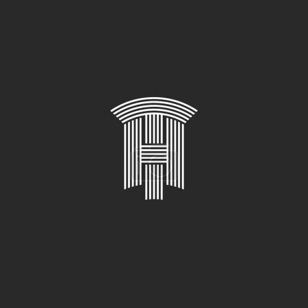 Illustration pour Lettres majuscules TH logo noir et blanc chevauchement lignes minces monogramme, ensemble deux lettres T et H marque élégante style minimal, mariage initiales HT combinaison - image libre de droit
