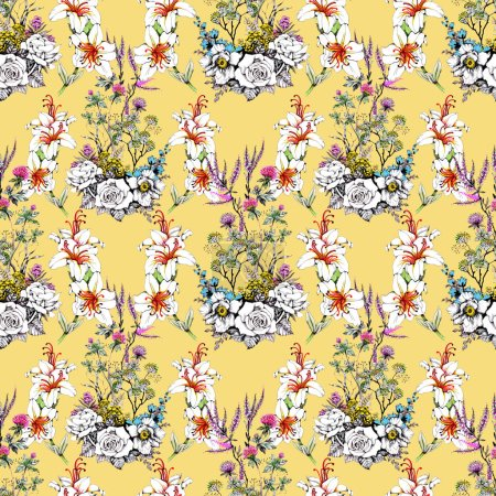 seamless pattern with beautiful colorful flowers