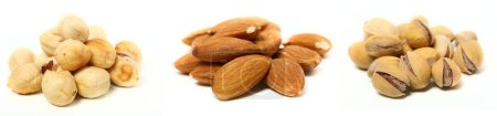 Photo for A set of three kinds of nuts. Three heaps of nuts, pistachios, almonds and hazelnuts. - Royalty Free Image