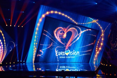 Photo pour KYIV, UKRAINE - FEBRUARY 23, 2017: Logo Eurovision 2017 national selection during the Eurovision 2017 - image libre de droit
