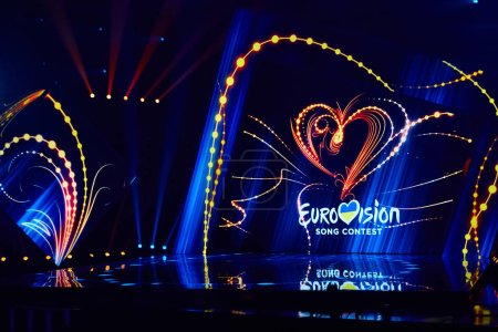 Photo pour KYIV, UKRAINE - FEBRUARY 23, 2019: Logo Eurovision 2019 national selection during the Eurovision 2019 - image libre de droit