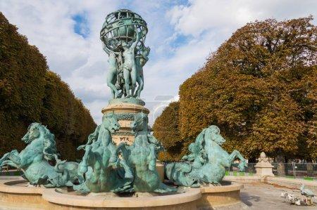 Luxembourg Garden in Paris,Fontaine de Observatoir. Paris.