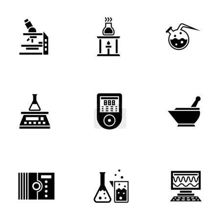 Illustration pour Symboles monochromes abstraits de laboratoire chimique. Outils et équipements pour les expériences scientifiques. Ensemble d'icônes vectorielles de style glyphe noir symbolique . - image libre de droit