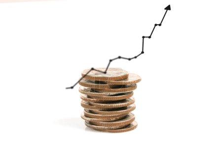 Anlagekonzept, Coins graph Aktienmarkt