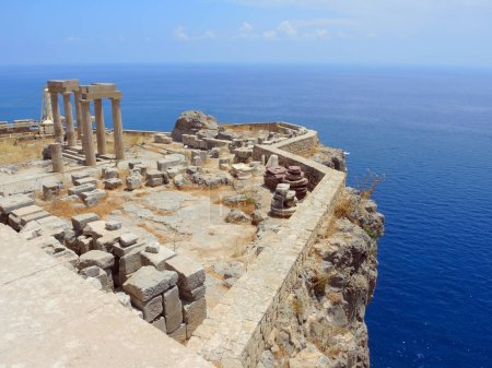 The ruins of an ancient castle in Lindos