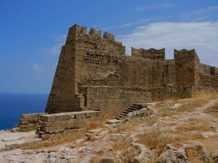 Ruins of the castle in Lindos. Rhodes, Greece