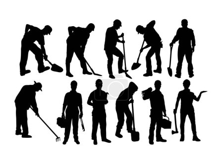 Illustration pour Silhouettes de travailleur et agriculteur, design vectoriel d'art - image libre de droit