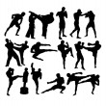 Martial Art Activity Silhouettes, art vector desig...