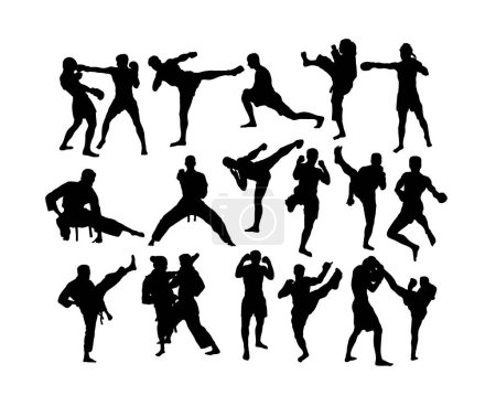 Free Boxing Silhouettes, art vector design...