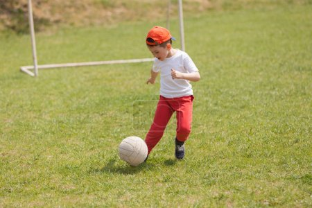Photo for Little boy kicking ball in the park. playing soccer (football) in the park. Sports for exercise and activity. - Royalty Free Image